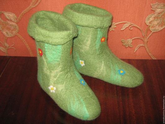 Обувь ручной работы. Ярмарка Мастеров - ручная работа. Купить Домашние ботиночки из шерсти Берендеевки. Handmade. Зеленый, кожа натуральная