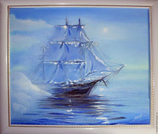 """Пейзаж ручной работы. Ярмарка Мастеров - ручная работа. Купить Картина маслом """"Летучий Голандец"""". Handmade. Голубой, Марина, корабль"""