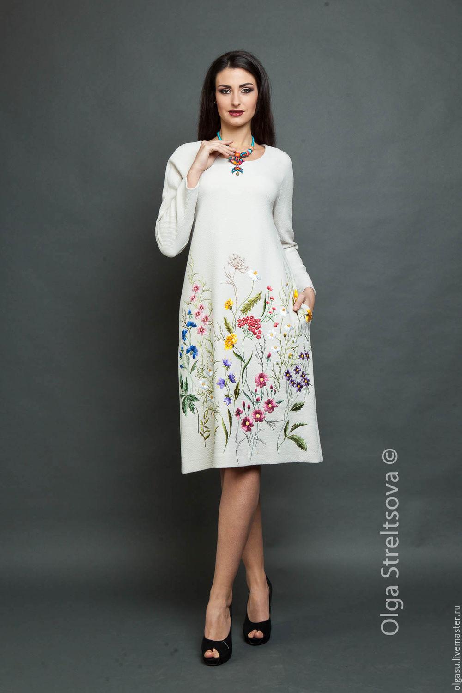 Платья ручной работы. Ярмарка Мастеров - ручная работа. Купить Вышитое платье Цветочная поляна белое. Handmade. Вышивка гладью