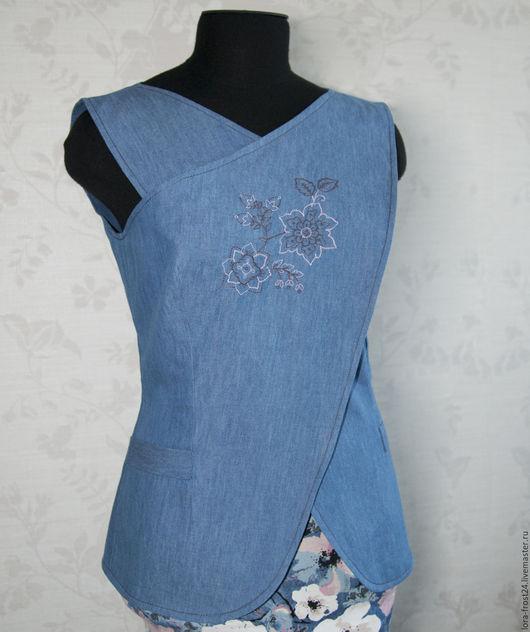 """Жилеты ручной работы. Ярмарка Мастеров - ручная работа. Купить Блуза-Жилет """"Цветок"""".Вышивка. Джинса.. Handmade. Синий, джинса"""