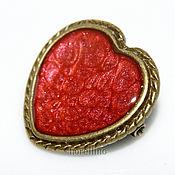 Украшения handmade. Livemaster - original item Heart brooch with painted red color. Handmade.