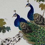 Картины и панно ручной работы. Ярмарка Мастеров - ручная работа картинаПавлины(китайская живопись птицы домашний интерьер). Handmade.