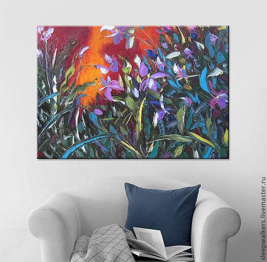 """Картины цветов ручной работы. Ярмарка Мастеров - ручная работа. Купить """"Дикие орхидеи"""" 100х70 см большая картина маслом мастихином цветы. Handmade."""