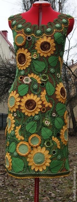 """Платья ручной работы. Ярмарка Мастеров - ручная работа. Купить Платье """" Подсолнухи"""" .. Handmade. Разноцветный, зеленый"""