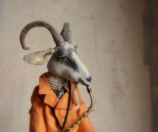 Мишки Тедди ручной работы. Ярмарка Мастеров - ручная работа. Купить Козел на саксе.... Handmade. Белый, новогодний подарок, шерсть