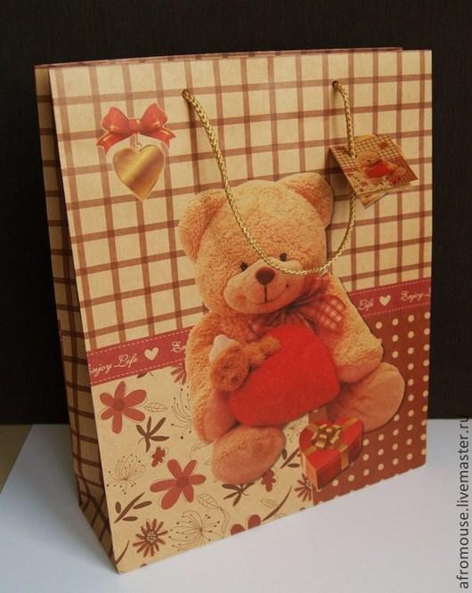 крафт-пакет `Милый мишка с сердечком` 28х34х10 см