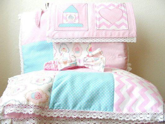 Для новорожденных, ручной работы. Ярмарка Мастеров - ручная работа. Купить Комплект в кроватку для девочки. Handmade. Рисунок, одеяло детское