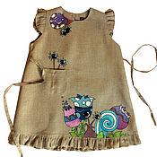 Работы для детей, handmade. Livemaster - original item Gray girl dress 18/24 Toddler linen Vintage style lace painted dress. Handmade.