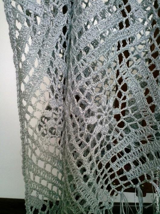 ажурная вязаная льняная шаль, льняной летний палантин, любимый Бохо, летний лен, ажурный платок, серебристый цвет, блестящий лен, шаль сеточкой