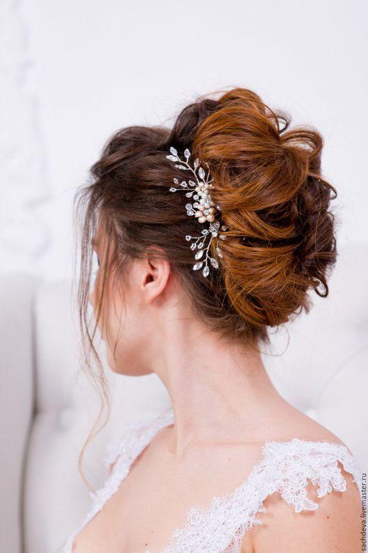Диадемы, обручи ручной работы. Ярмарка Мастеров - ручная работа. Купить Свадебный гребень для волос. Handmade. Белый, выпускной