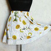 """Одежда ручной работы. Ярмарка Мастеров - ручная работа Юбка """"Ромашки"""" короткая,на резинке,из трикотажа. Handmade."""