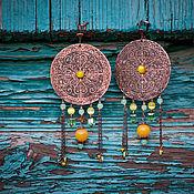 Украшения ручной работы. Ярмарка Мастеров - ручная работа Серьги крупные медные желтый солнечный бохо этнический. Handmade.