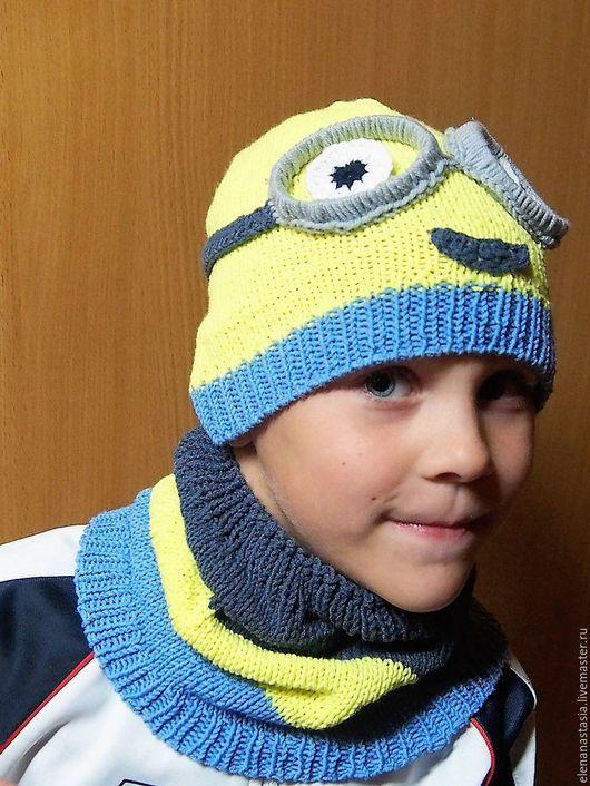 Шапки и шарфы ручной работы. Ярмарка Мастеров - ручная работа. Купить шапка Миньон. Handmade. Синий, рисунок, мультяшный герой