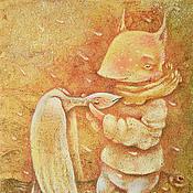 Картины и панно ручной работы. Ярмарка Мастеров - ручная работа Пряный Ветер. На ветвях... Сказочная картина-принт. Handmade.