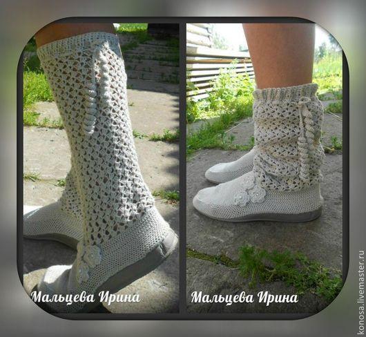 Обувь ручной работы. Ярмарка Мастеров - ручная работа. Купить Вязаные летние сапожки. Handmade. Летние сапоги, обувь для улицы
