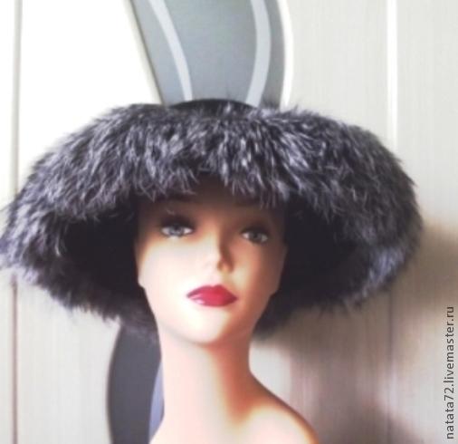 Шляпа из фетра с полями из чернобурки