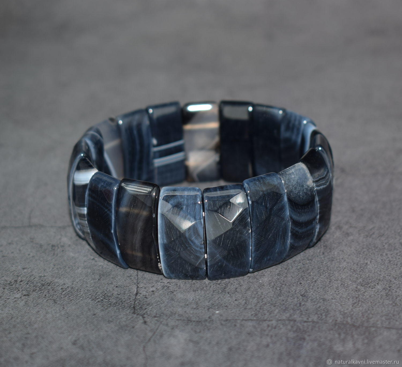 Large bracelet natural black agate cut, Bead bracelet, Moscow,  Фото №1