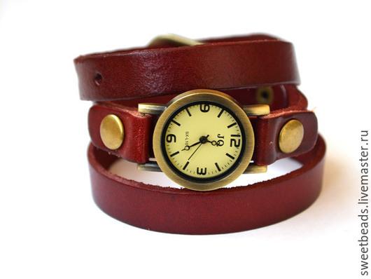 Часы ручной работы. Ярмарка Мастеров - ручная работа. Купить Часы на ремешке, красный. Handmade. Часы кварцевые, часы в подарок