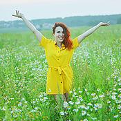 Одежда ручной работы. Ярмарка Мастеров - ручная работа Платье-рубашка желтого цвета. Handmade.