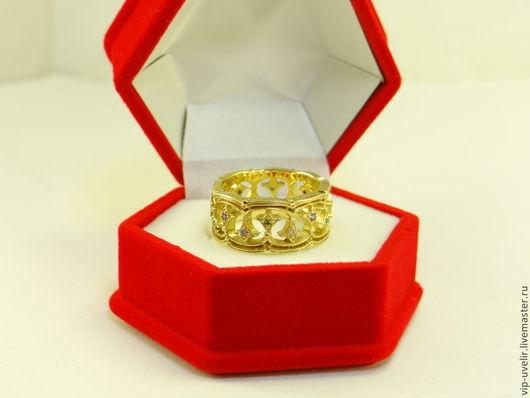 Кольца ручной работы. Ярмарка Мастеров - ручная работа. Купить Женское кольцо из желтого золота с фианитами. Handmade. Золотой