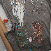 Одежда handmade. Livemaster - original item t-shirt hedgehog in the fog. Handmade.