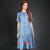 """Одежда ручной работы. Ярмарка Мастеров - ручная работа Вышитое платье """"Яркая роза"""" ручная вышивка гладью. Handmade."""
