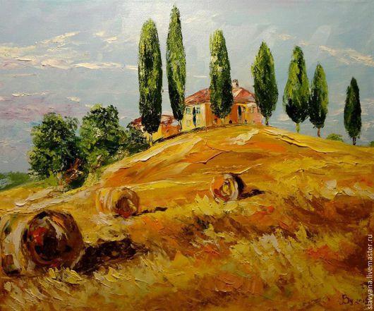 Пейзаж ручной работы. Ярмарка Мастеров - ручная работа. Купить Тоскана. Handmade. Оранжевый, картина, лето, подарок, холст на подрамнике
