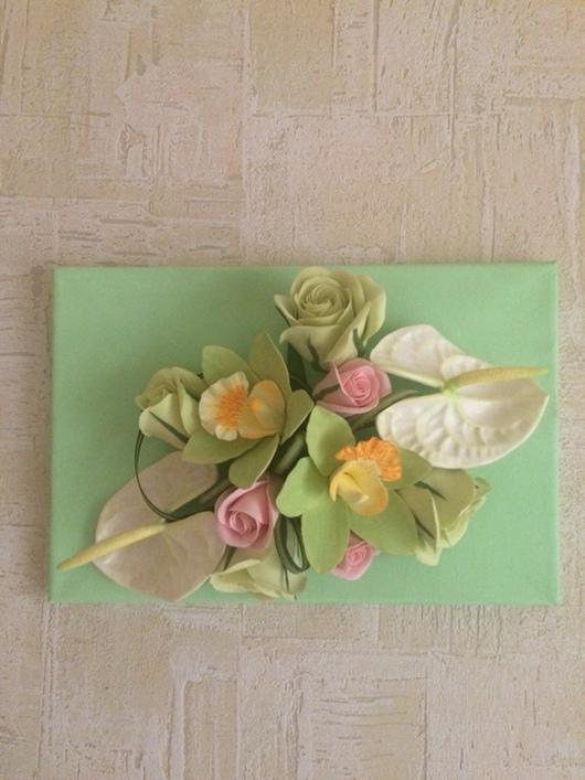 Картины цветов ручной работы. Ярмарка Мастеров - ручная работа. Купить Панно с цветами из полимерной глины. Handmade. Салатовый