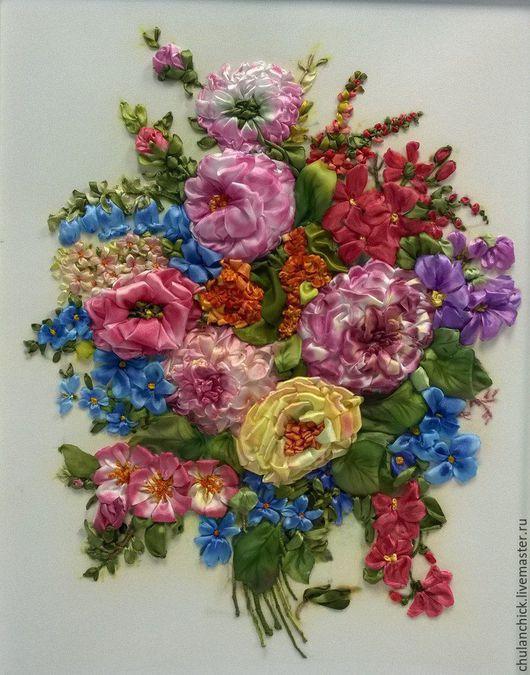"""Картины цветов ручной работы. Ярмарка Мастеров - ручная работа. Купить Вышитая картина лентами """"Торжественный букет"""". Handmade."""