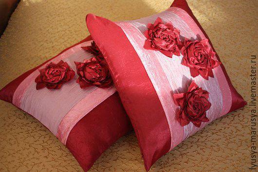 """Текстиль, ковры ручной работы. Ярмарка Мастеров - ручная работа. Купить Декоративные подушки """" Цветы"""". Handmade. Комбинированный"""
