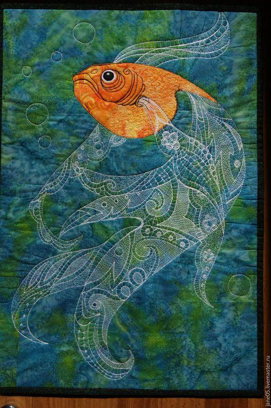 """Животные ручной работы. Ярмарка Мастеров - ручная работа. Купить Панно """"Золотая рыбка"""". Handmade. Панно на стену, американский хлопок"""