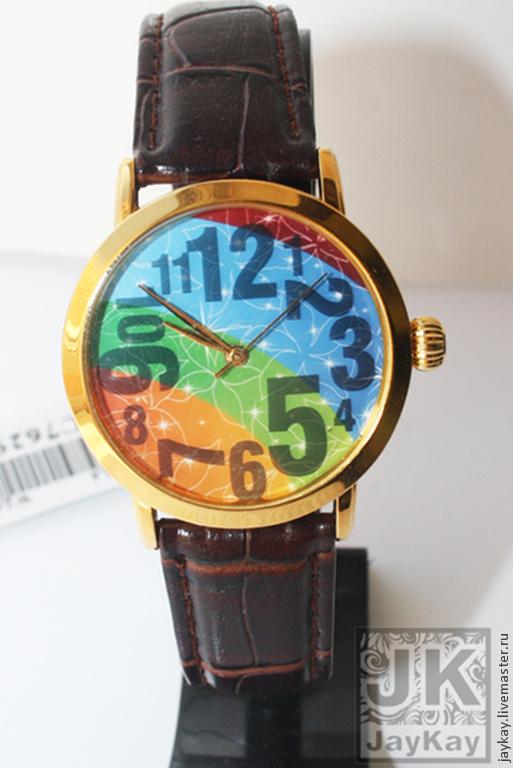 "Часы ручной работы. Ярмарка Мастеров - ручная работа. Купить Часы наручные JK ""Цифры радуга"". Handmade."
