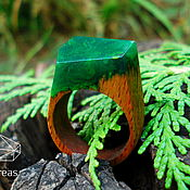 Украшения handmade. Livemaster - original item Summer - ring made of beech wood and jewelry (epoxy) resin. Handmade.