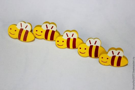 Шитье ручной работы. Ярмарка Мастеров - ручная работа. Купить пуговицы деревянные пчелки. Handmade. Желтый, пуговицы пчелки