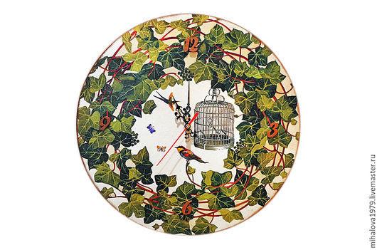 """Часы для дома ручной работы. Ярмарка Мастеров - ручная работа. Купить Часы настенные """"Венок из плюща"""". Handmade. Зеленый, часы"""