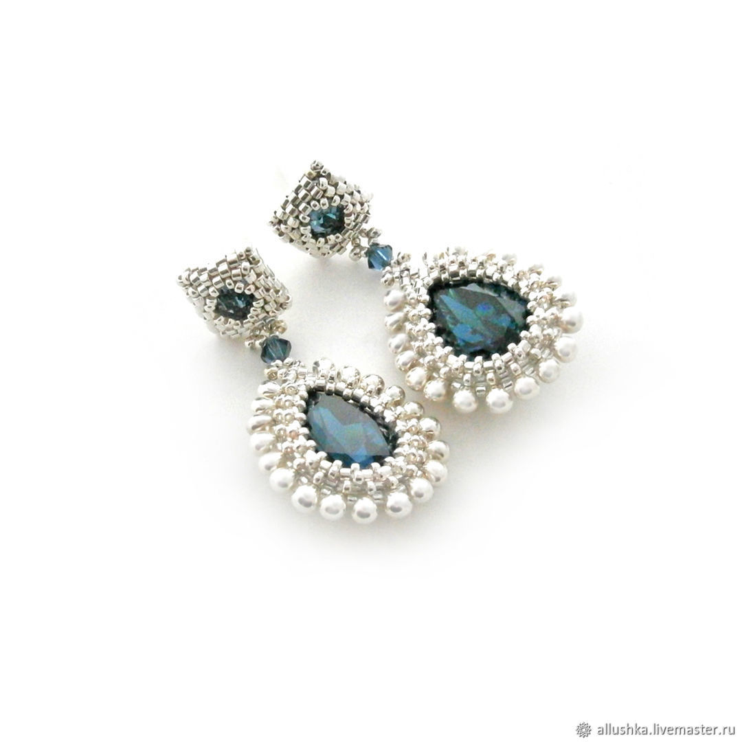 Earrings from beads and Swarovski crystals 'DIANA', Earrings, Moscow,  Фото №1