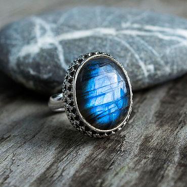 """Decorations handmade. Livemaster - original item Copy of Silver ring with labrador """"Night Sky"""" silver 925. Handmade."""