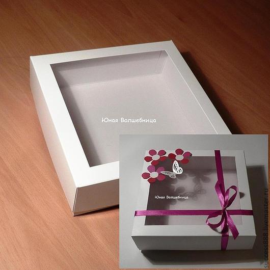 оригинальная упаковка для подарка, белая коробка, коробка с окошком, упаковка для украшений
