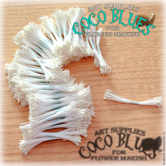 Тайские тычинки очень хорошего качества. Двусторонние с удлиненными белыми головками. Длина нити около 7 см.   `Кокосов Блюз` Таиланд  (c) Coco Blues (Thailand) Co. Ltd