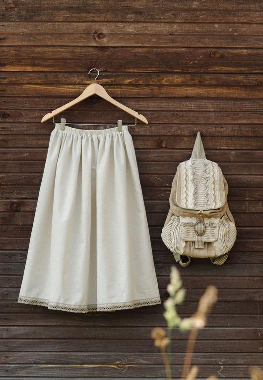 Юбки ручной работы. Ярмарка Мастеров - ручная работа. Купить Нижняя юбка нежная. Handmade. Бежевый, юбка, льняной подъюбник