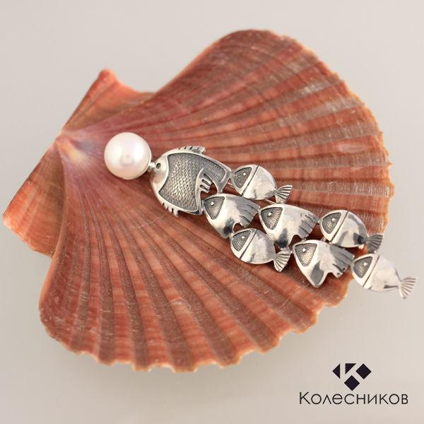 Let's play like fish ! Brooch of silver (silver, pearls), Brooches, Yaroslavl,  Фото №1