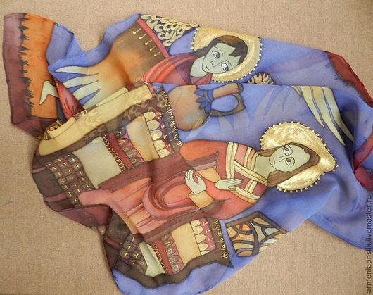 """Шали, палантины ручной работы. Ярмарка Мастеров - ручная работа. Купить Платок """"Христианство"""". Handmade. Вера, древность, Библия, шёлк"""
