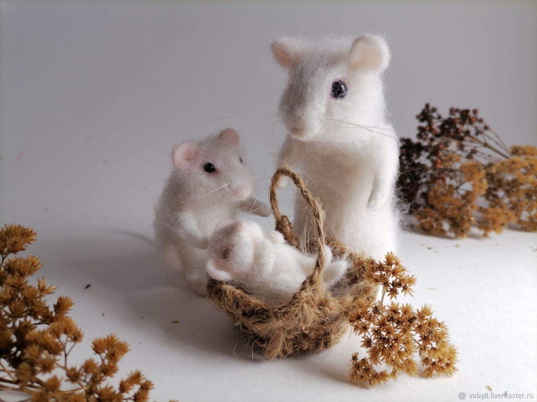 Мыши из шерсти (войлочная игрушка), Войлочная игрушка, Тюмень,  Фото №1