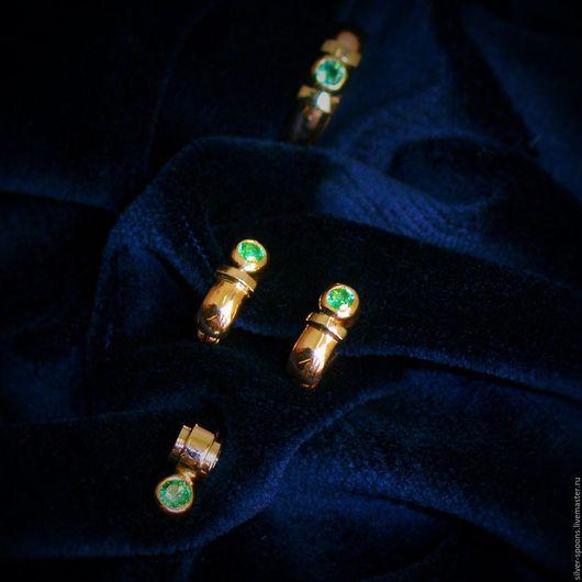 """Персональные подарки ручной работы. Ярмарка Мастеров - ручная работа. Купить """"Лето"""". Классический гарнитур (кольцо, серьги и подвеска) с изумрудом. Handmade."""