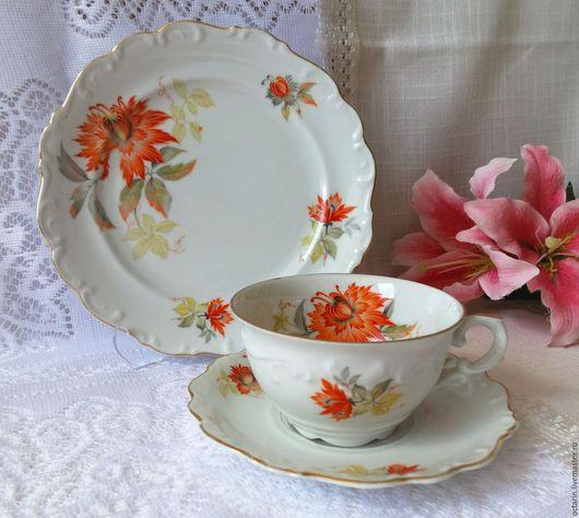 """Винтажная посуда. Ярмарка Мастеров - ручная работа. Купить Баварское винтажное трио, """"Schumann"""" Германия. Handmade. Фарфоровая посуда, посуда"""