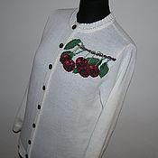Одежда ручной работы. Ярмарка Мастеров - ручная работа Кофта с вышивкой. Вишневый сад. Handmade.