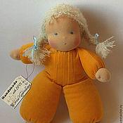 Куклы и игрушки ручной работы. Ярмарка Мастеров - ручная работа Малышка-пушишка 2, вальдорфская кукла в пришивном комбинезоне. Handmade.