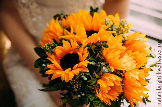 Букет невесты из живых цветов Подсолнух.