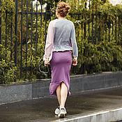 Одежда ручной работы. Ярмарка Мастеров - ручная работа Сиреневая юбка с разрезом. Handmade.