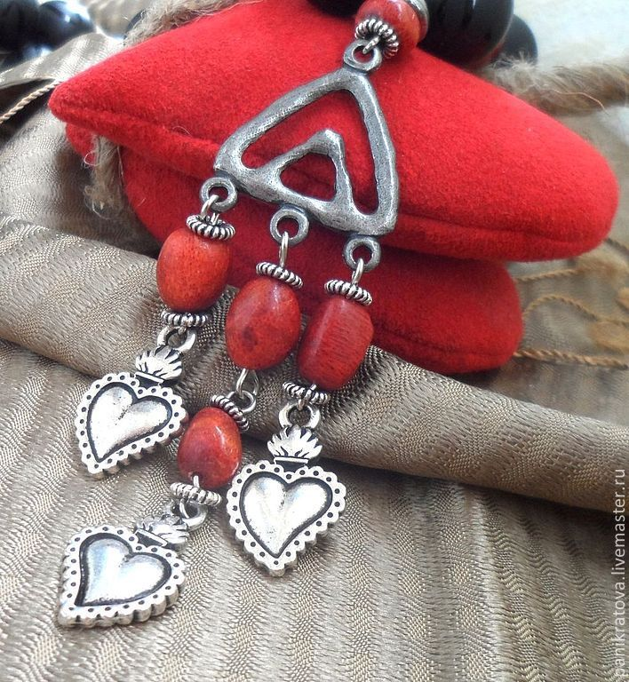 Necklace 'my heart...'(black onyx, coral), Necklace, Moscow,  Фото №1